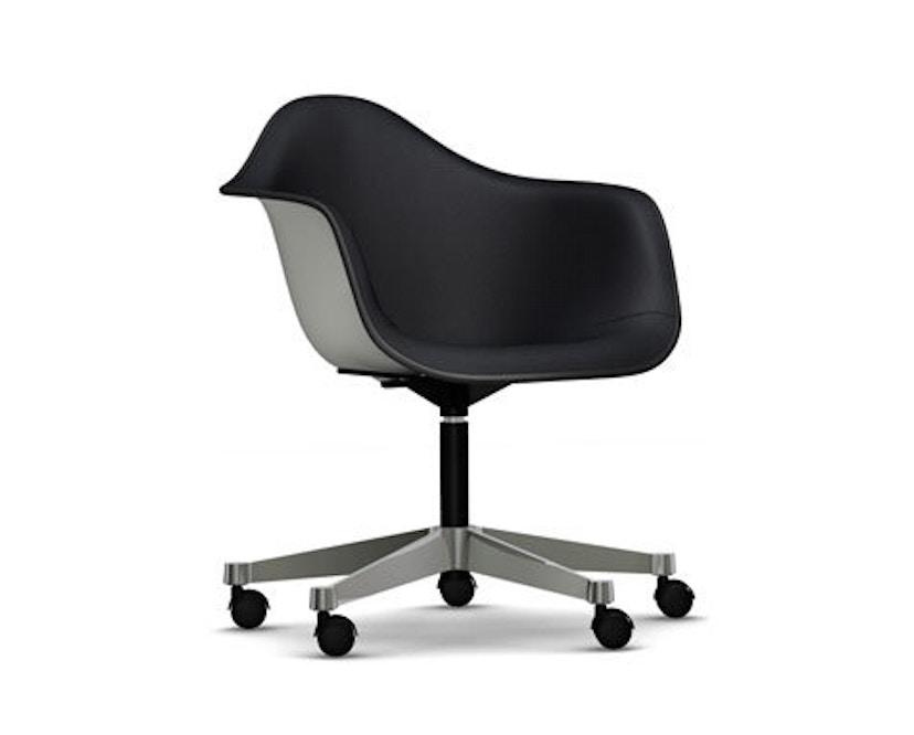 Vitra - Eames Plastic Armchair PACC mit Vollpolster - Schale weiß, Bezug nero - Keder schwarz - 1