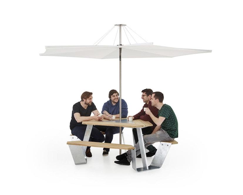 extremis - Anker Tisch feuerverzinkt - Iroko hardwood - weiße pulverbeschichtete Mittelplatte - 7