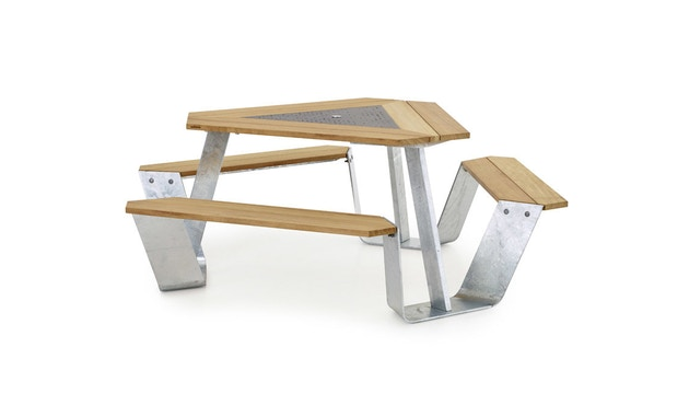extremis - Anker Tisch feuerverzinkt - Iroko hardwood - weiße pulverbeschichtete Mittelplatte - 2
