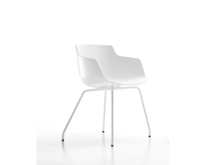 MDF Italia - Flow Slim Armlehnstuhl 4 Fußgestell - weiß - Gestell weiß - 2