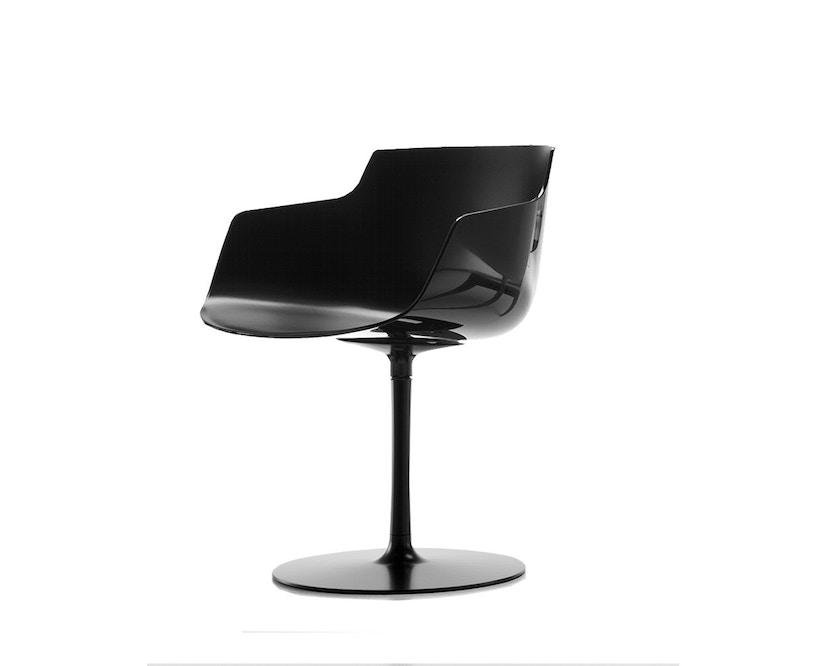 MDF Italia - Flow Slim Armlehndrehstuhl Tellerfuß - schwarz - 1