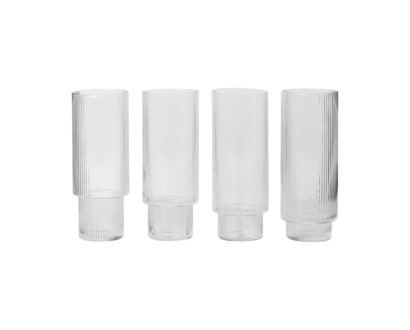 ferm LIVING - Ripple Long Drink glazen (set van 4) - transparant - 1