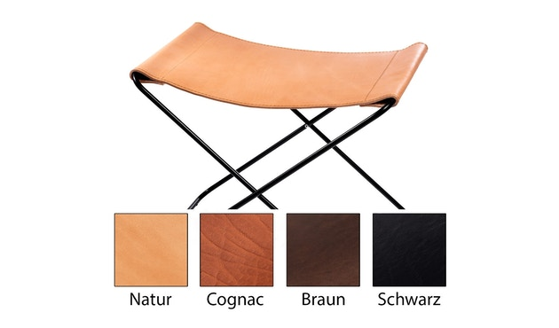 Manufakturplus - Fußteil für Hardoy Butterfly Chair - Stahlrahmen schwarz, Sattel-Leder braun - 1