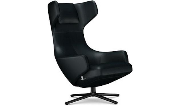 Vitra - Grand Repos Sessel - Sitzhöhe 41 cm - Untergestell basic dark pulverbeschichtet - Leder Kontrastnaht nero - 1