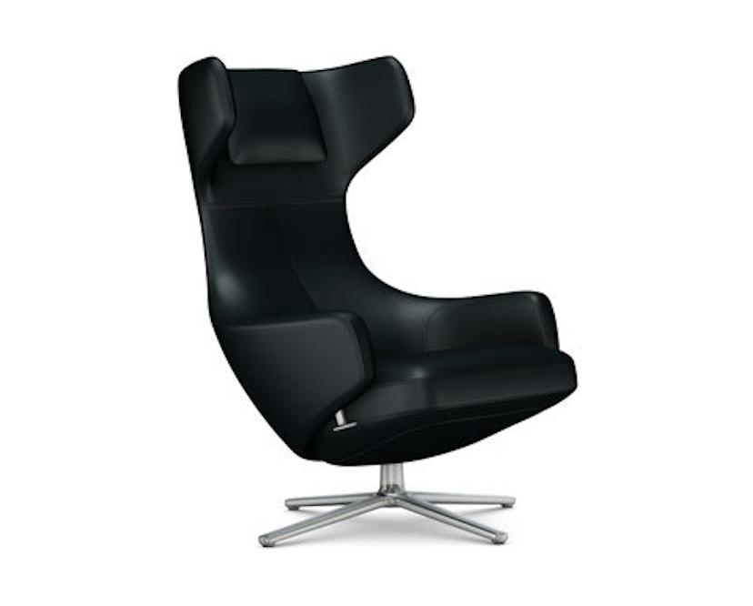 Vitra - Grand Repos Sessel - Sitzhöhe 41 cm - Untergestell Aluminium poliert - Leder Kontrastnaht nero - 1