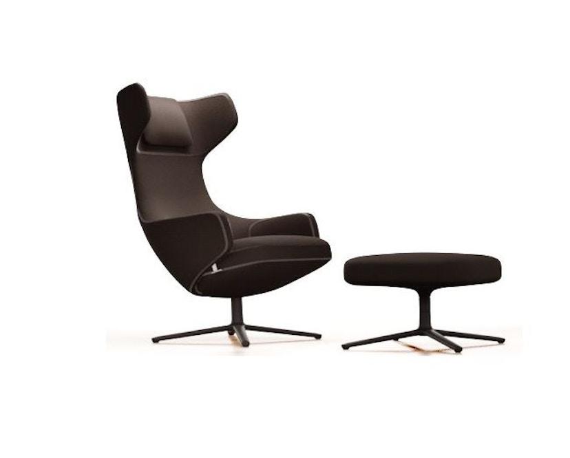 Vitra - Grand Repos Sessel & Ottoman - Sitzhöhe 46 cm - Untergestell Basic Dark - Mello Doppelstichnaht graphit - 1