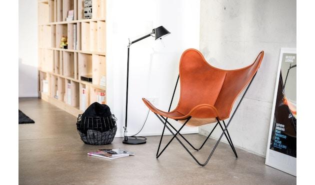 Manufakturplus - Butterfly Chair Hardoy - B.K.F. Chair Stahlrahmen weiß, Biobüffel-Leder schwarzbraun - 5