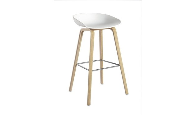 HAY - About a Stool AAS 32 - Sitzhöhe 75 cm - voetbank roestvrij staal - Eik gezeept - wit - 0