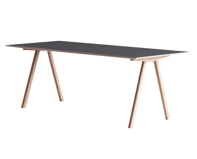 HAY - Copenhague CPH10 - 160 x 80 cm - Gestell klar lackiert - Tischplatte Linoleum schwarz - 3