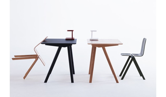 HAY - Copenhague CPH90 Schreibtisch - Gestell Eiche geseift - Tischplatte Linoleum grau - 14