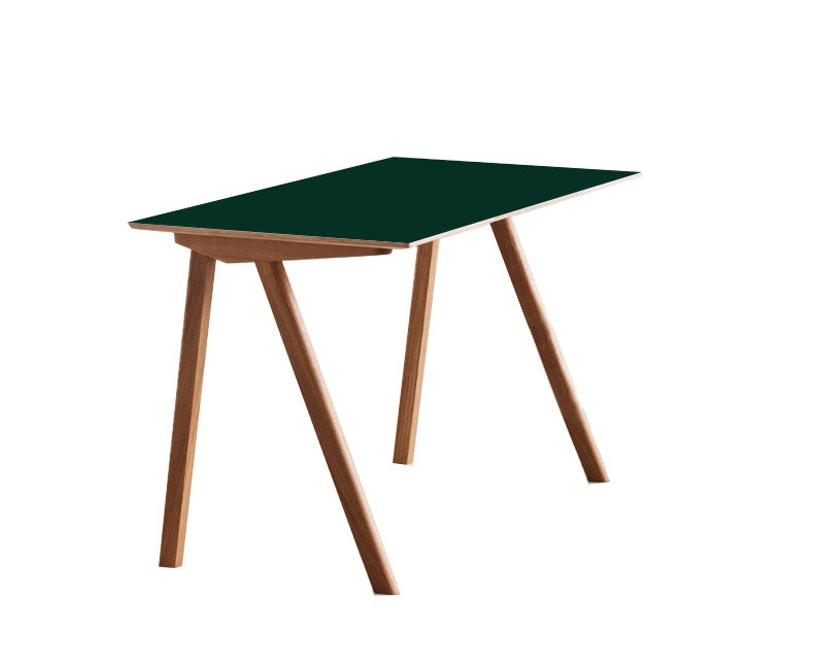 HAY - Copenhague CPH90 Schreibtisch - Gestell Eiche klar lackiert - Tischplatte Linoleum grün - 3