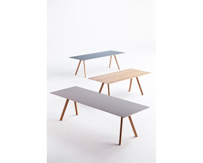 HAY - Copenhague CPH30 Esstisch - 200 x 90 cm - Gestell Eiche matt lackiert - Tischplatte Linoleum grau - 12
