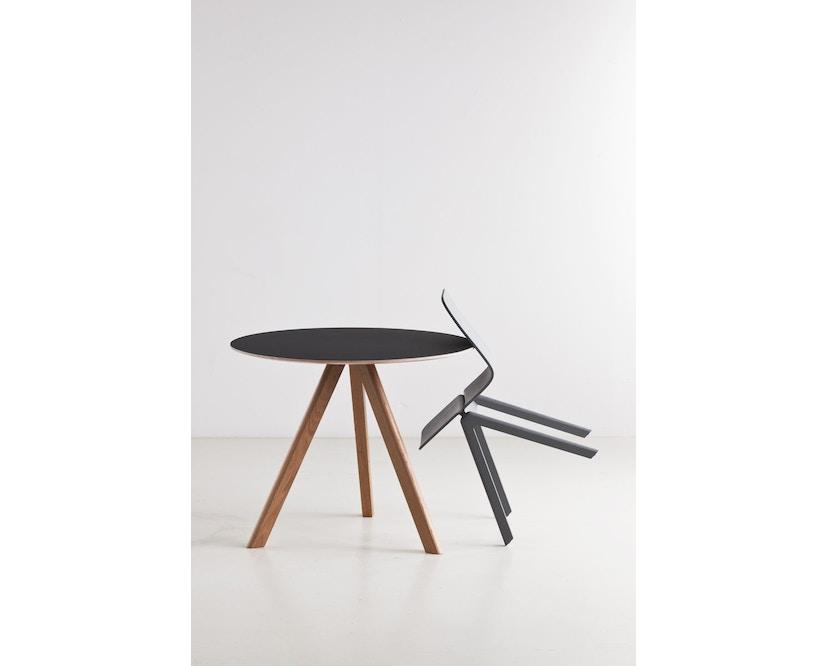 HAY - Copenhague CPH20 Tisch - Ø90 cm - Gestell klar lackiert - Tischplatte Linoleum grau - 9