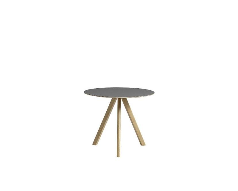 HAY - Copenhague CPH20 Tisch - Ø90 cm - Gestell klar lackiert - Tischplatte Linoleum grau - 7