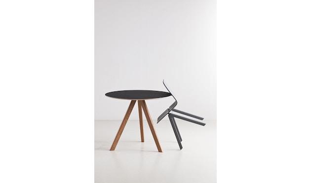 HAY - Copenhague CPH20 Tisch - Ø90 cm - Linoleum  grau - Gestell Eiche matt lackiert - 4