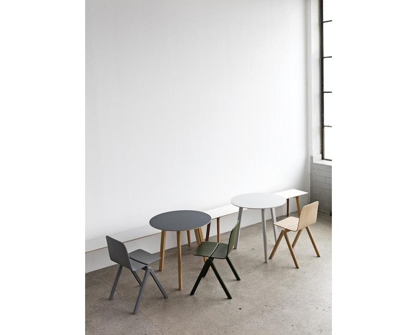 HAY - Copenhague Deux CPH 220 Tisch - Platte steingrau - Gestell Buche Natur - Ø 75 cm - 6