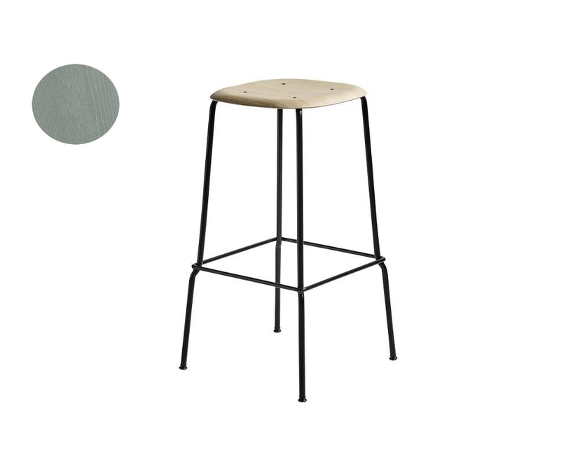 HAY - Soft Edge 30 Bar Stool - nebelgrün/ schwarz - niedrig - 1