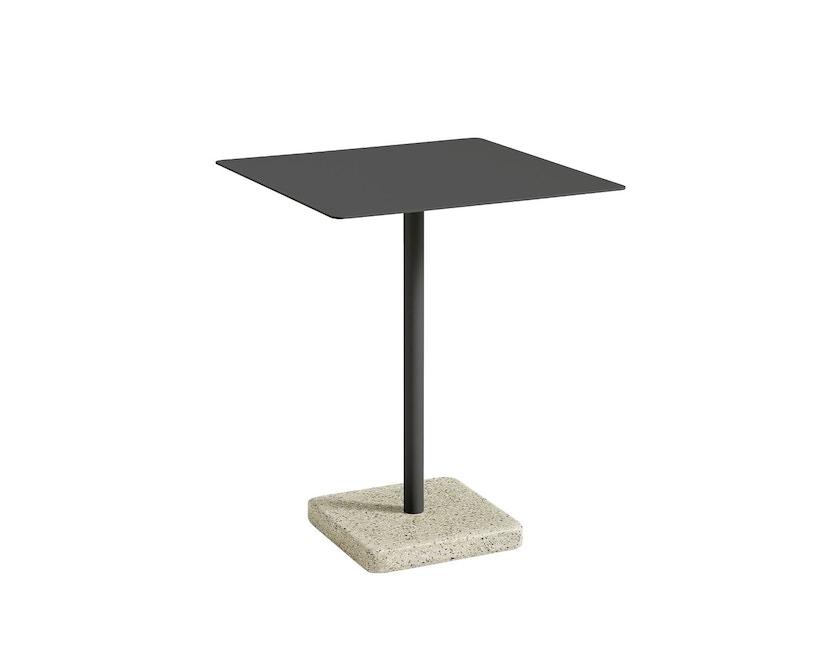HAY - Terrazzo Gartentisch - Platte dunkelgrau - eckig - Sockel grau-gelb - 3