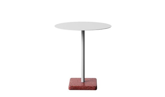 HAY - Terrazzo Gartentisch - Platte hellgrau - rund - Sockel rot - 1