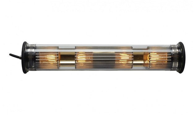DCW éditions - IN THE TUBE 120-700 Wandleuchte - gold - gewebe silber - stopper schwarz - 1