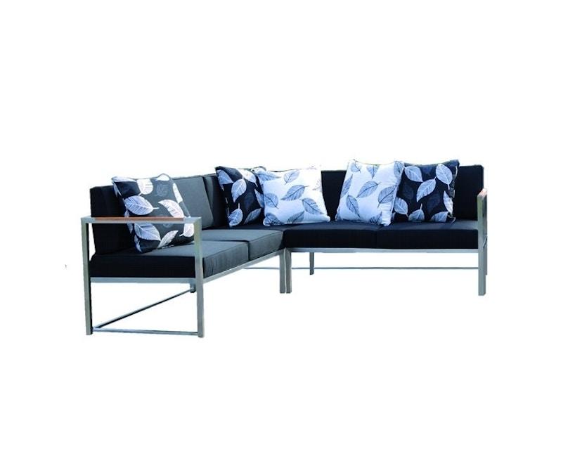 Jan Kurtz - Lux Lounge Eckkombi - Variante 1 - schwarz - Gestell Edelstahl - 1