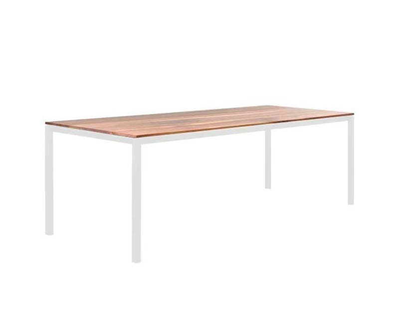 Janua - S 600 Tisch - Eiche weiß pigmentiert - Gestell Verkehrsweiß - 80x80 - 3