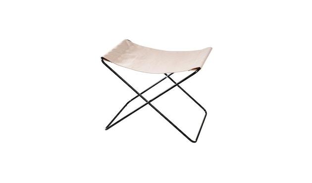 Manufakturplus - Fußteil für Hardoy Butterfly Chair - Stahlrahmen schwarz, Baumwolle oliv - 1