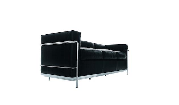 Cassina - LC 2 Divano 3 Sofa - Gestell schwarz - schwarz - 0
