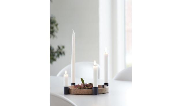 applicata - Luna Tablett/Kerzenhalter -  oak/black - 2