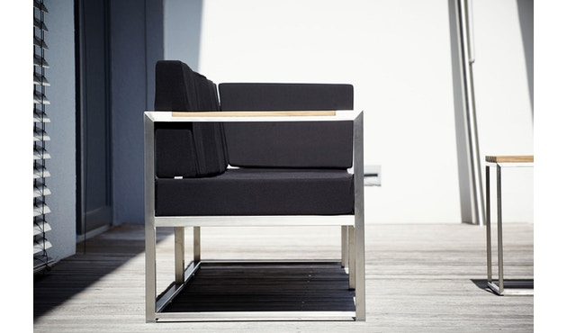Jan Kurtz - Lux Lounge Sitzkombi - Variante 4 - schwarz - Gestell Edelstahl - 4