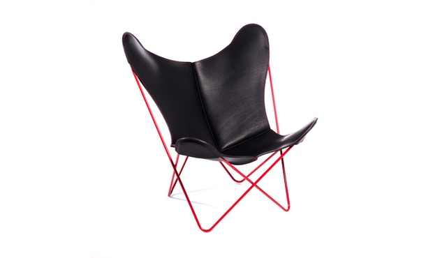 Manufakturplus - Butterfly Chair Hardoy - 80 Jahre Sonderedition - rotes Gestell - rote Naht - 1