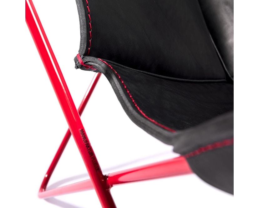 Manufakturplus - Butterfly Chair Hardoy - 80 Jahre Sonderedition - rotes Gestell - rote Naht - 4