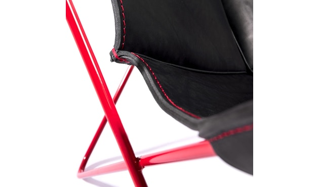 Manufakturplus - Butterfly Chair Hardoy - 80 Jahre Sonderedition - rotes Gestell - rote Naht - 5
