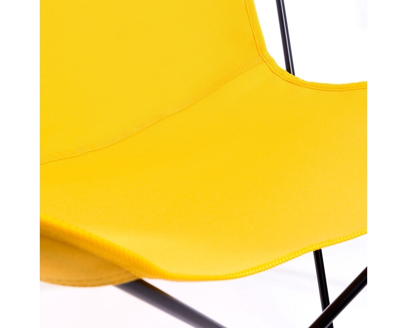 Manufakturplus - Butterfly Chair Hardoy - B.K.F. Chair Stahlrahmen schwarz, Acryl gelb - 6