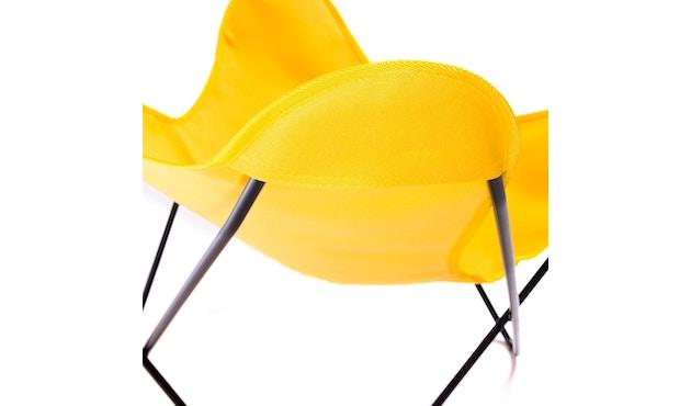 Manufakturplus - Butterfly Chair Hardoy - B.K.F. Chair Stahlrahmen schwarz, Acryl gelb - 7