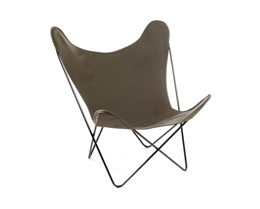 Manufakturplus - Butterfly Chair Hardoy - B.K.F. Chair Stahlrahmen schwarz, Baumwolle oliv - 1