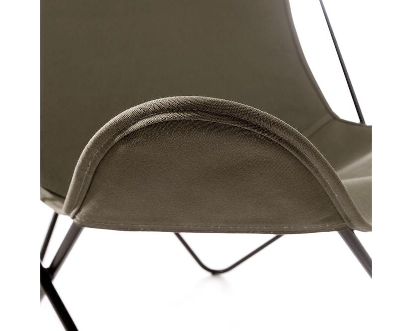 Manufakturplus - Butterfly Chair Hardoy - B.K.F. Chair Stahlrahmen schwarz, Baumwolle oliv - 2