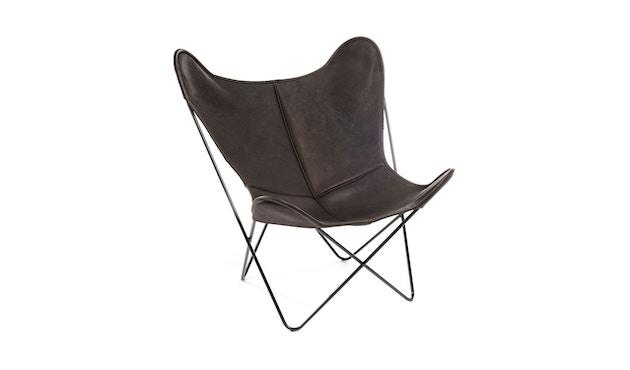Manufakturplus - Butterfly Chair Hardoy - B.K.F. Chair Stahlrahmen weiß, Biobüffel-Leder schwarzbraun - 1