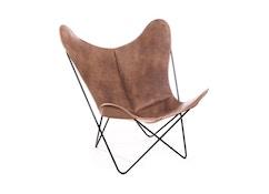 Manufakturplus - Butterfly Chair Hardoy - B.K.F. Chair Stahlrahmen schwarz, Vintage-Leder - 1