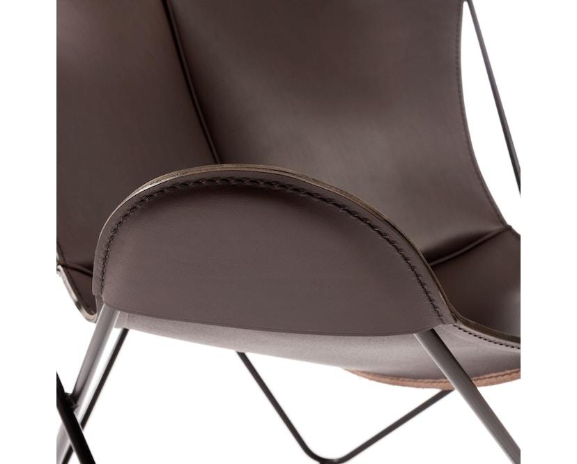 Manufakturplus - Butterfly Chair Hardoy - Blankleer - Staal wit - Blankleder bruin - 5
