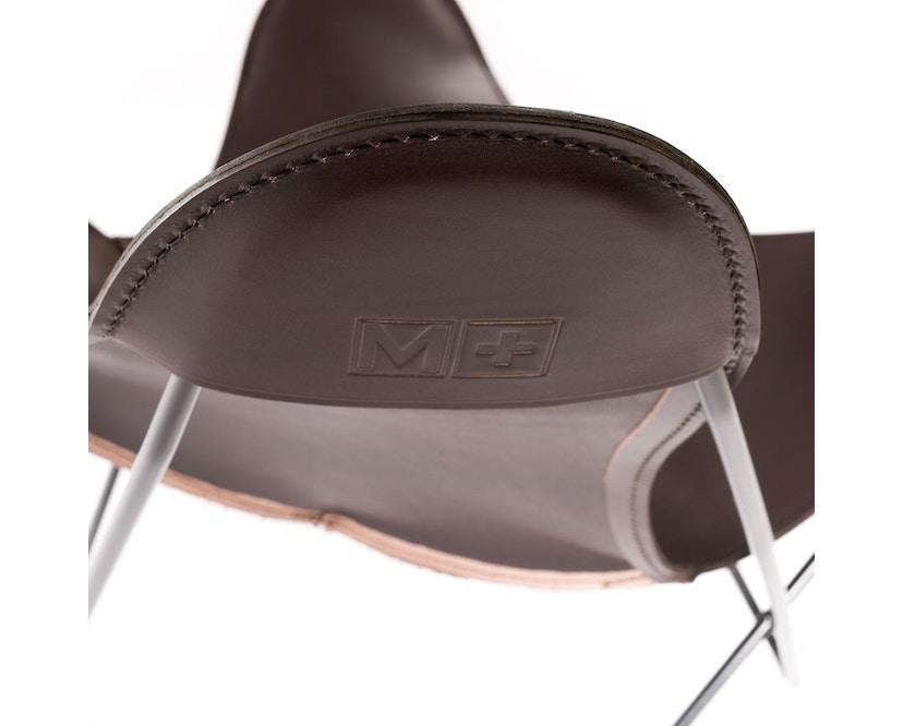 Manufakturplus - Butterfly Chair Hardoy - Blankleer - Staal wit - Blankleder bruin - 7