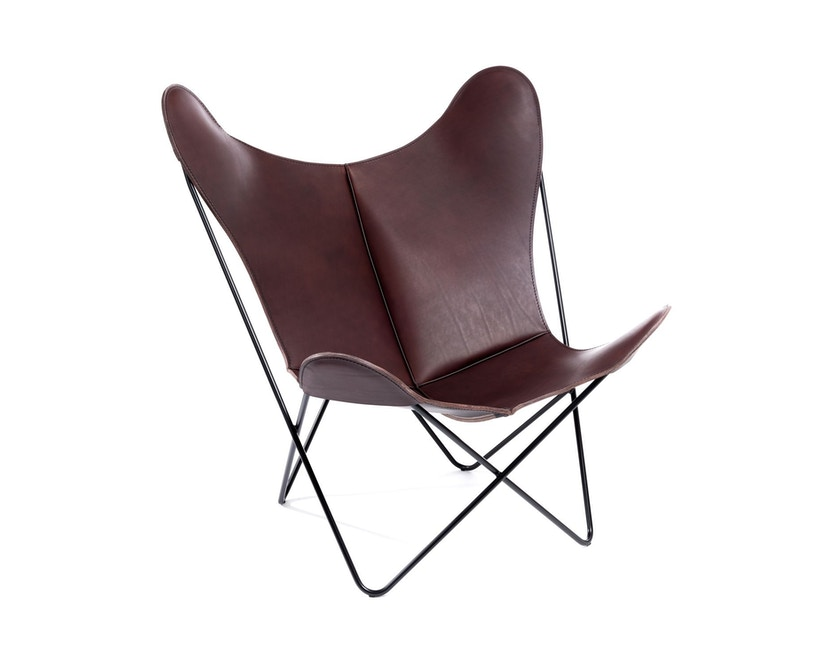 Manufakturplus - Butterfly Chair Hardoy - B.K.F. Chair Stahlrahmen schwarz, Blankleder maron - 2