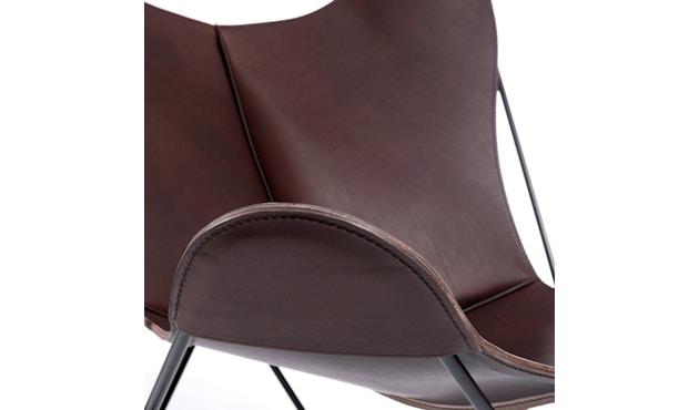 Manufakturplus - Butterfly Chair Hardoy - B.K.F. Chair Stahlrahmen schwarz, Blankleder maron - 3