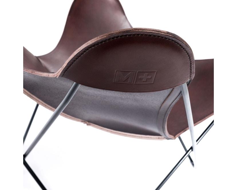 Manufakturplus - Butterfly Chair Hardoy - B.K.F. Chair Stahlrahmen schwarz, Blankleder maron - 5
