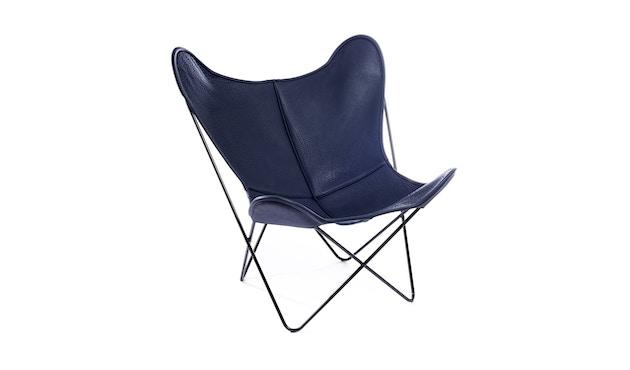 Manufakturplus - Butterfly Chair Hardoy - B.K.F. Chair Stahlrahmen weiß, Neckleder blau - 1