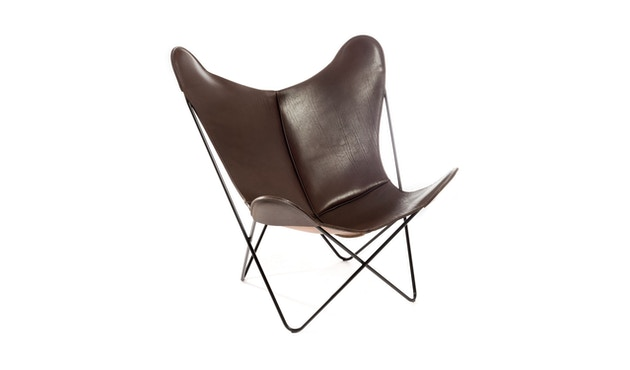 Manufakturplus - Butterfly Chair Hardoy - B.K.F. Chair Stahlrahmen schwarz, Sattel-Leder braun - 1