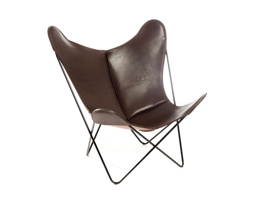 Manufakturplus - Butterfly Chair Hardoy - B.K.F. Chair Stahlrahmen weiß, Sattel-Leder braun - 1