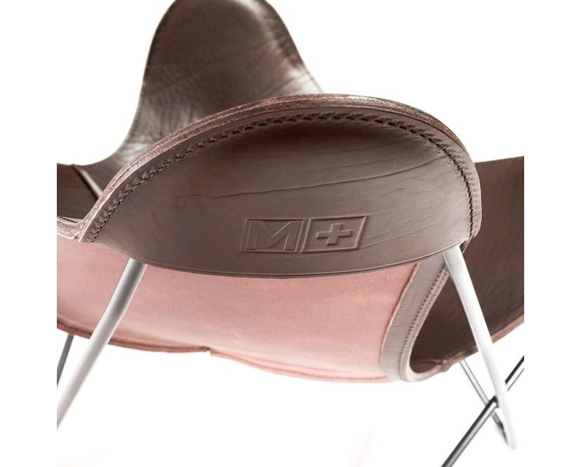 Manufakturplus - Butterfly Chair Hardoy - B.K.F. Chair Stahlrahmen weiß, Sattel-Leder braun - 4
