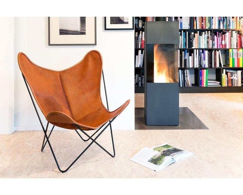 Manufakturplus - Butterfly Chair Hardoy - B.K.F. Chair Stahlrahmen weiß, Biobüffel-Leder schwarzbraun - 3