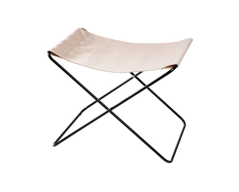 Manufakturplus - Fußteil für Hardoy Butterfly Chair - Stahlrahmen schwarz, Pure Cotton - 1